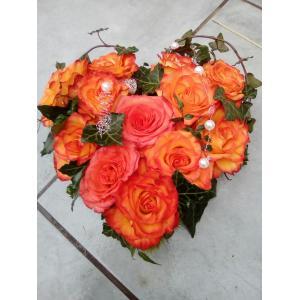 Coeur roses orange